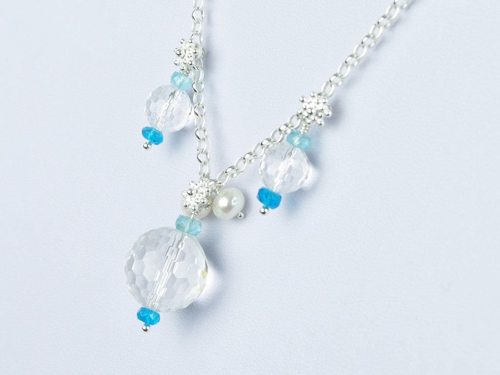 Ice Maiden Necklace - Clear Quartz, Pearl & Apatite