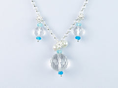 Ice Maiden Necklace - Clear Quartz, Pearls & Apatite
