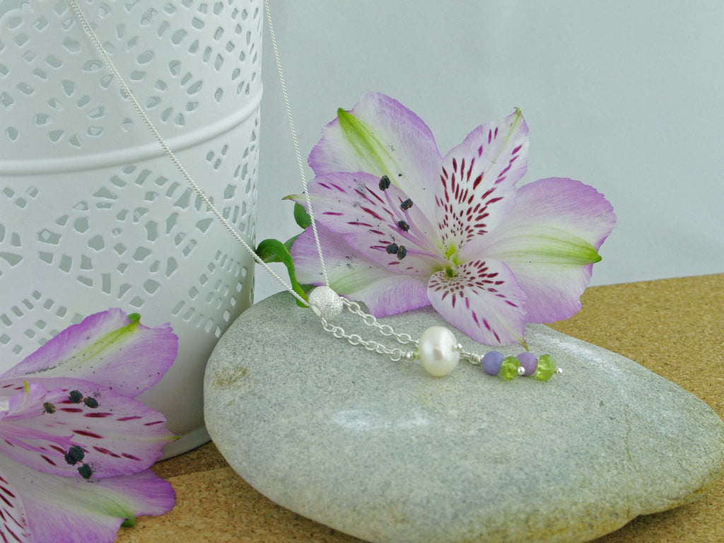In the Balance Necklace - Cultured Pearl, Lilac Opal, Peridot, Silver Necklace