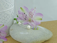 In the Balance Necklace - Cultured Pearl, Lilac Opal, Peridot, Silver Necklace from Jewellery by Linda