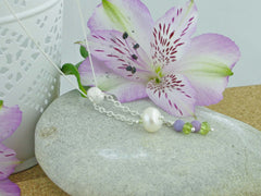 Jewellery by Linda In the Balance Necklace - Cultured Pearl, Lilac Opal, Peridot, Silver Necklace