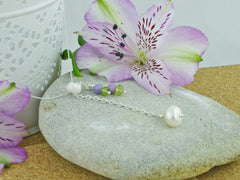 In the Balance Necklace - Cultured Pearl, Lilac Opal, Peridot, Sterling Silver Necklace