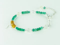 Jealous Heart Bracelet - Madeira Citrine, Green Onyx, Citrine with Sterling Silver