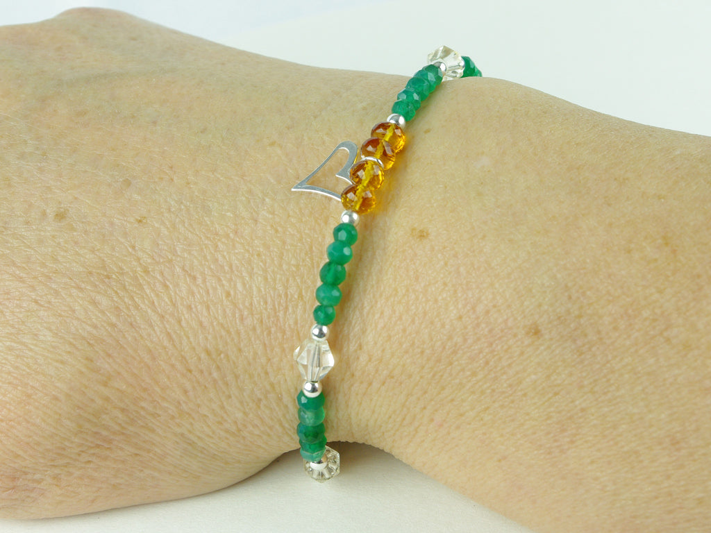 Jealous Heart Bracelet - Madeira Citrine, Green Onyx, Citrine, Sterling Silver shown worn