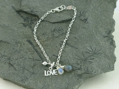 Labradorite and Rainbow Moonstone Silver Charm Bracelet