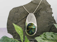 Labradorite Runic Silver Necklace