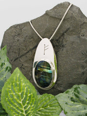 Labradorite Sterling Silver Runic Necklace