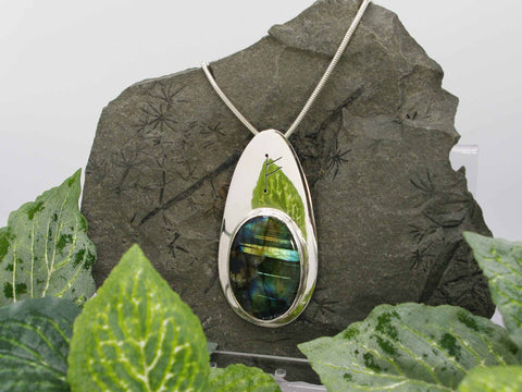 Labradorite Runic Sterling Silver Necklace