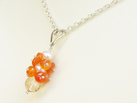 Lalita Necklace - Unique Handmade Sterling Silver Heart with Carnelian
