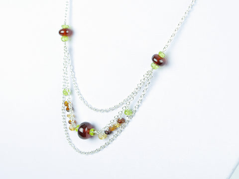 Layer Cake Necklace - Hessonite Garnet, Peridot, Sterling Silver