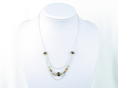 Layer Cake Necklace - Hessonite Garnet, Peridot on Sterling Silver