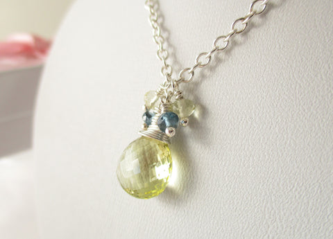 Lemon Sherbet Necklace - Lemon Quartz, London Blue Topaz, Sterling Silver