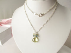 Lemon Sherbet Necklace - Lemon Quartz, London Blue Topaz & Sterling Silver