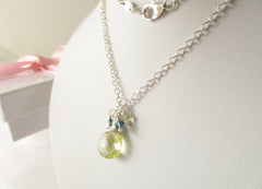 Lemon Sherbet Necklace - Lemon Quartz, London Blue Topaz with Sterling Silver