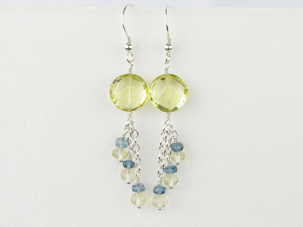 Lemon Sherbet Earrings - Lemon Quartz, London Blue Topaz, Sterling Silver