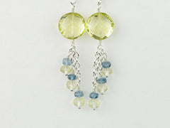 Lemon Sherbet Earrings - Lemon Quartz with London Blue Topaz, Sterling Silver