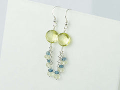 Lemon Sherbet Earrings - Lemon Quartz and London Blue Topaz, Sterling Silver