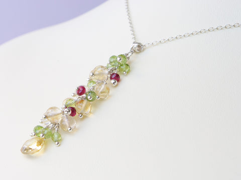 Liana Necklace - Exclusive & Handmade with Peridot, Citrine & Red Spinel