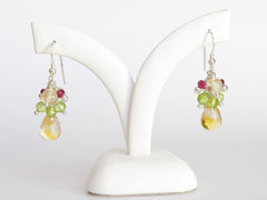 Liana Earrings - Exclusive & Handmade with Peridot, Citrine & Red Spinel
