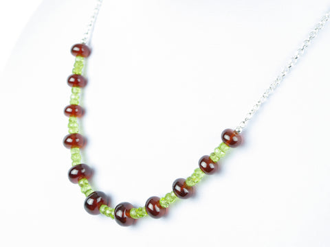 Luxe Necklace - Hessonite Garnet, Peridot, Sterling Silver