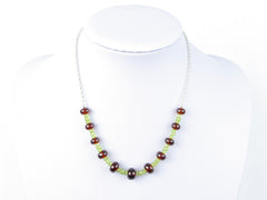 Luxe Necklace - Hessonite Garnet, Peridot with Sterling Silver