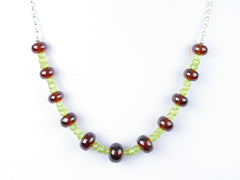 Luxe Necklace - Hessonite Garnet, Peridot on Sterling Silver