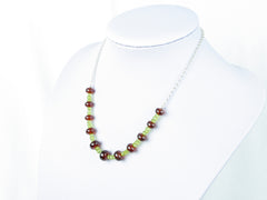 Luxe Necklace - Hessonite Garnet, Peridot & Sterling Silver