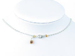 Luxe Necklace - Hessonite Garnet, Peridot, Sterling Silver Chain