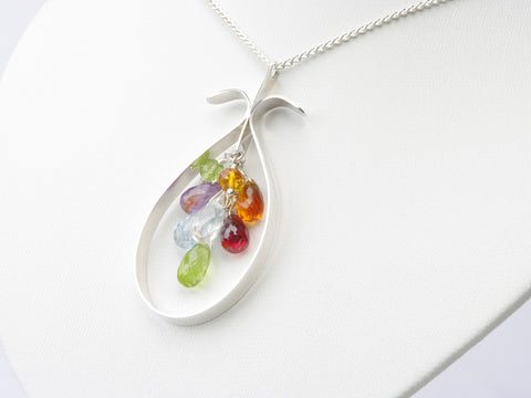 Marta Necklace - Unique Hand Formed Sterling Silver Pendant with Semi-Precious Gemstones