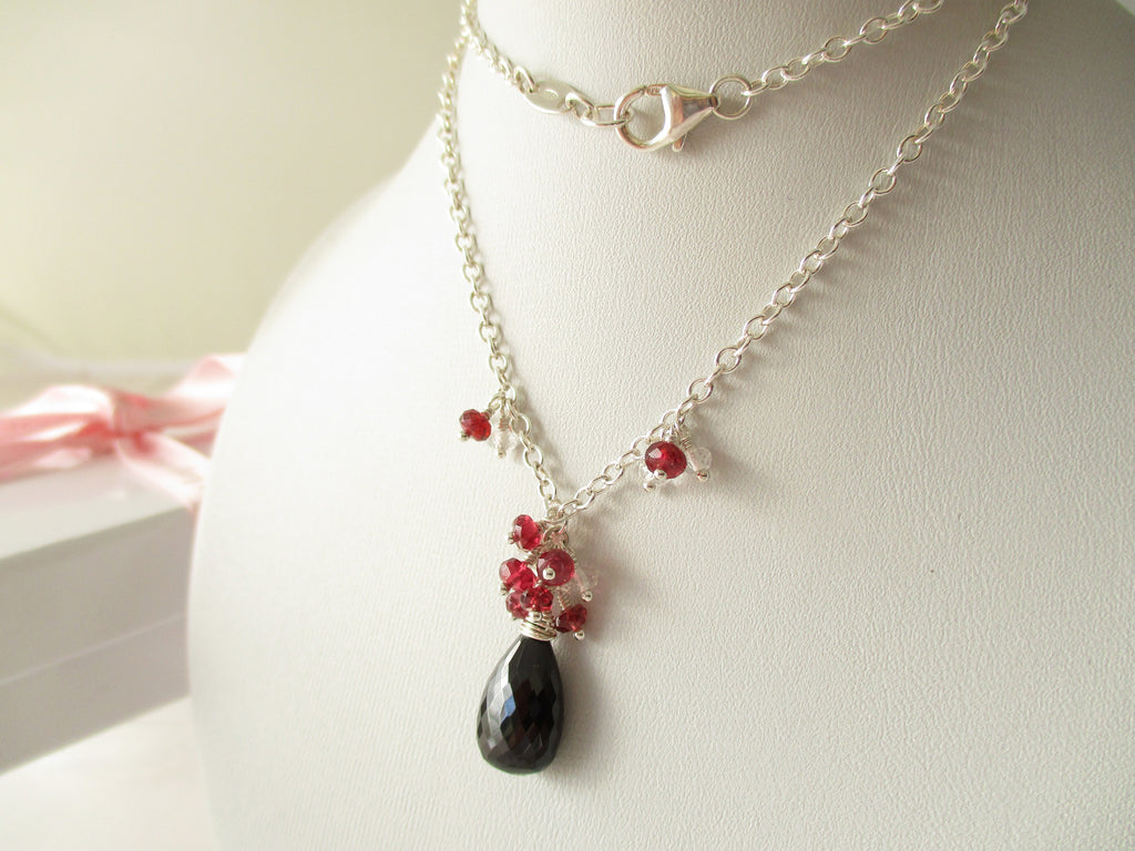 Midnight Heat Necklace - Black & Red Spinel and Topaz