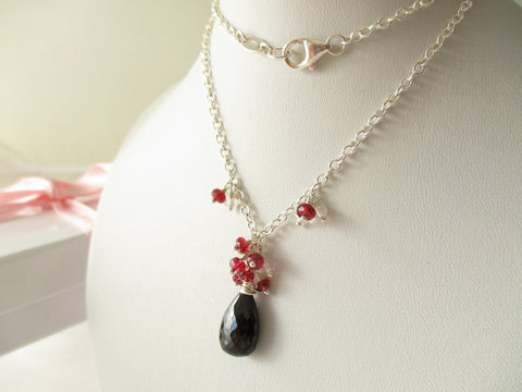 Midnight Heat Necklace - Black & Red Spinel Sterling Silver