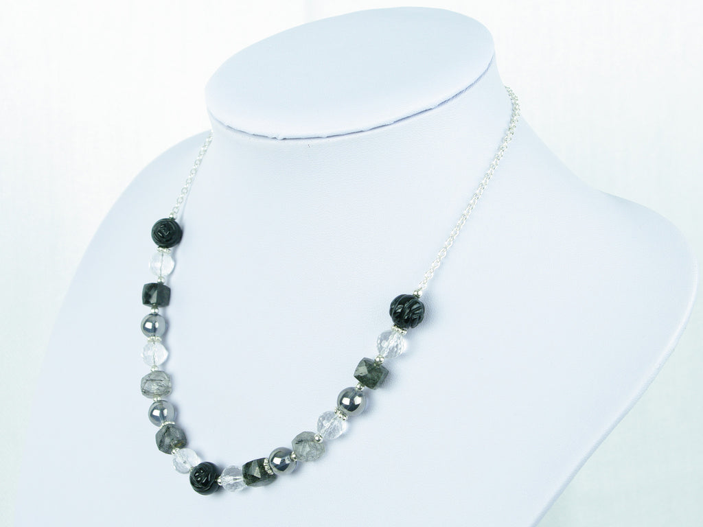 Mono Necklace - Carved Black Agate, Tourmalinated Quartz, Quartz
