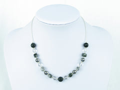Mono Necklace - Carved Black Agate, Tourmalinated Quartz & Quartz