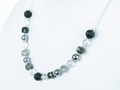Mono Necklace - Carved Black Agate, Tourmalinated Quartz with Quartz