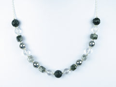 Mono Necklace - Carved Black Agate, Tourmalinated Quartz and Quartz