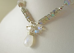 Moonstone Serenade Necklace - Rainbow Moonstone, Labradorite & Sterling Silver