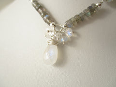 Moonstone Serenade Necklace - Rainbow Moonstone & Labradorite & Sterling Silver