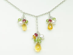 Mustardseed Necklace - Exclusive & Handmade with Citrine, Peridot & Red Spinel