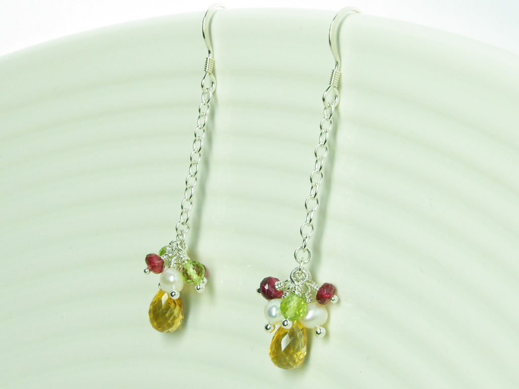 Mustardseed Earrings - Exclusive & Handmade with Citrine, Peridot & Red Spinel
