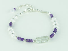 On a Roll Bracelet - Green Amethyst, Amethyst, Quartz & Sterling Silver