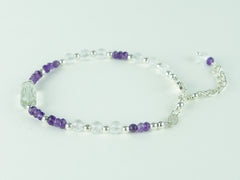 On a Roll Bracelet - Green Amethyst, Amethyst, Quartz with Sterling Silver