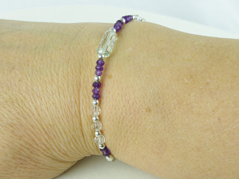 On a Roll Bracelet - Green Amethyst, Amethyst, Quartz, Sterling Silver