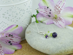 On the Ring Necklace - Amethyst, Peridot, Quartz Silver Necklace from Jewellery by Linda
