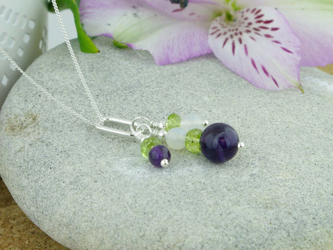 On the Ring Necklace - Amethyst, Peridot & Agate Silver Necklace
