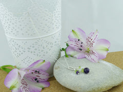 Jewellery by Linda On the Ring Necklace - Amethyst, Peridot, Quartz Silver Necklace
