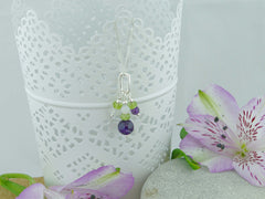 On the Ring Necklace - Amethyst, Peridot, Quartz Sterling Silver Necklace