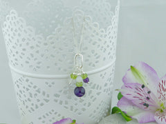 On the Ring Necklace from Jewellery by Linda - Amethyst, Peridot, Quartz Silver Necklace