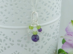 On the Ring Necklace - Amethyst, Peridot and Quartz Sterling Silver Necklace