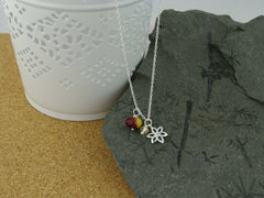 Silver Flower Charm and Mookite Necklace