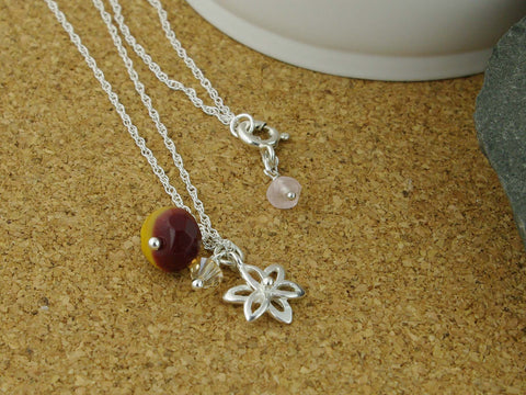 Silver Flower Charm Necklace with Mookite